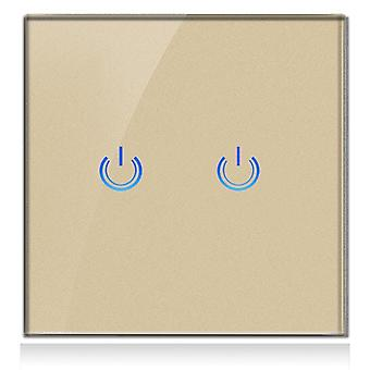 Glass Panel Smart Touch Switch For Wall Light 2gang  220v
