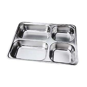 Deepen Thick Stainless Steel Plate With 4 Compartments And Stainless Steel Cover