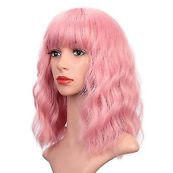 Women Curly Wavy Short Wigs For Halloween Cosplay(Pink)