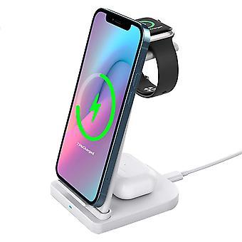 Bezprzewodowa stacja ładująca 3 w 1, odłączany stojak na bezprzewodową ładowarkę Kompatybilny z iPhone 12 11 Pro Max X XR XS 8 Samsung Galaxy S20+ S10 S9 Airpods 2/Pro, iWatch 6/5/4/3/2,(biały)