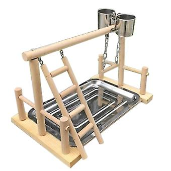 Parrot Wood Stand Activity Center Ladder Swing Tray Cup Perch Bird Play Rack|Bird Toys