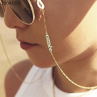 Kultalasiketju henkilökohtainen nimi silmälasit ketju aurinkolasit ketju boheemi kasvonaamioketju kulta kaulakoru festivaali korut