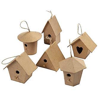 6 Mini Papier Mache Birdhouse ou Bird Box Ornements
