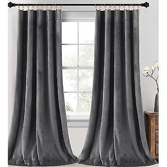 2X sammetsgardiner super mjukt heminredning rum mörka gardiner för vardagsrum, termisk isolerad sammet draperier för sovrum, grå