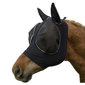 Hengittävä hevosen lentävä naamio hyttysten ja hyönteisten kestävä hevosen huppu (musta)