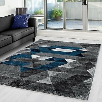 Alfombra de la sala de estar Alfombra de pila corta Diseñador Patrón triangular Gris turquesa moteado
