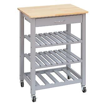 Chariot de cuisine en bois Chariot de service 3 étagères avec tiroir