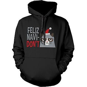 Sjove gnaven kat grafisk hættetrøje - Feliz Navidon't jul hættetrøje