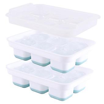 Silikon Eiswürfel Schalen Set von 2 mit Abdeckung Eisball Form 6 Gitter Quadrat EisGitter (20 * 13,5 * 5,4 cm)