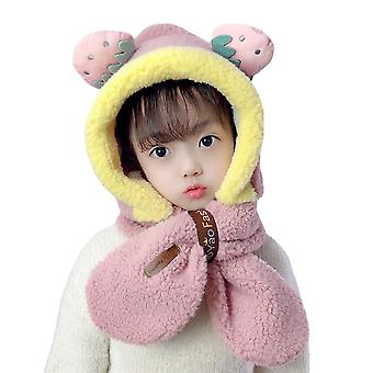 Hat Baby Warm Hat Scarf One Plus Velvet Thick Cute Pullover Cap