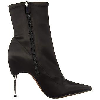 BCBG Womens 34AZ059-BLK Satin Pointed Toe Mid-Calf Fashion Boots