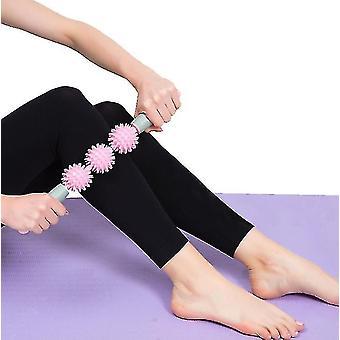 Vaaleanpunainen piikki rulla tikku hierontalaite lihasten rentoutuminen ohut vasikka artefakti jooga x4114