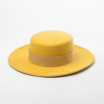 Ribbon Bowknot Accent Derby, Winter Warm Capyellow