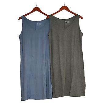 Felina Women's Sleep Dress Set Of 2 Soft Sleeveless Knee Length Blue
