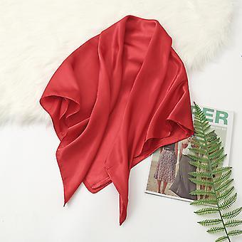 35 polegadas cetim cabeça lenço grande vintage quadrado pele de seda sensação de cetim vermelho