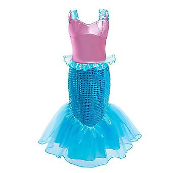Princess Generic Costume Little Girls Mermaid Dress Up With Tiara And Wand For Kids Party