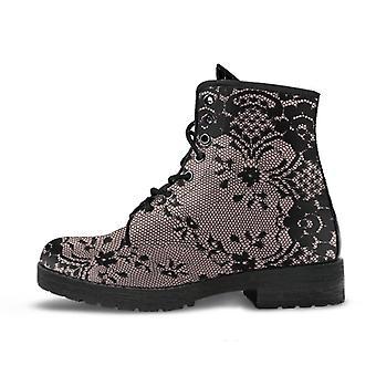 Combat boots - black lace print design | boho shoes, vegan leather custom shoes