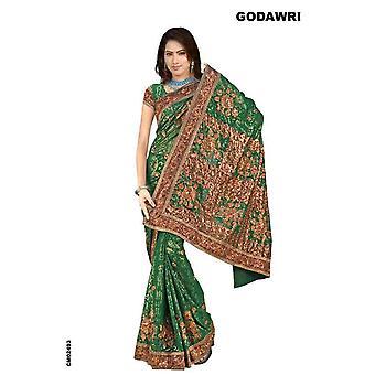 Bhanumati Georgette Indian Sari saree con ricamo