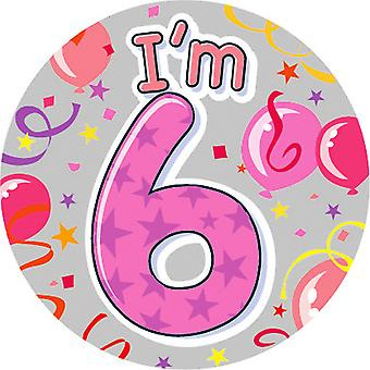 Expression Factory Childrens Girls I Am 6 Today Giant Badge