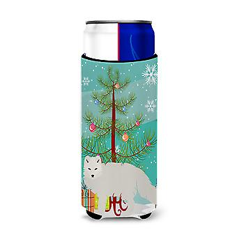 White Arctic Fox Christmas Michelob Ultra Hugger for slim cans