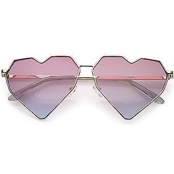 Oversize geometryczne serca okulary przeciwsłoneczne podwójne nos most kolor przyciemniane płaski obiektyw 62mm
