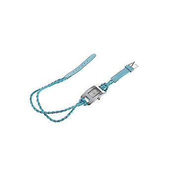 Ladies Blue Braided Bracelet PU Leather Strap Watch BGWAIEK1