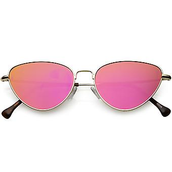 Frauen schlankes Metall Katze Sonnenbrille farbige Spiegel flach Augenlinse 54mm