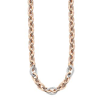 Orphelia Silver 925  Necklace Rose Drop Shaped Links Zirc  ZK-7161