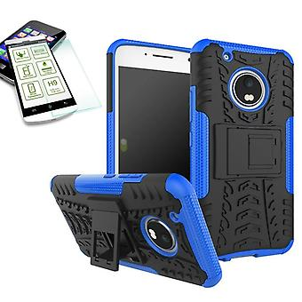 Hybrid case 2 piece blue for Lenovo Moto G5 plus + tempered glass bag case cover