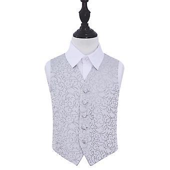 Zilveren Swirl bruiloft vest voor jongens