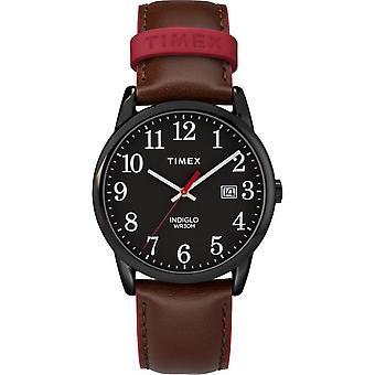 Timex horloge gemakkelijk lezer kleur pop 38 mm leer TW2R62300