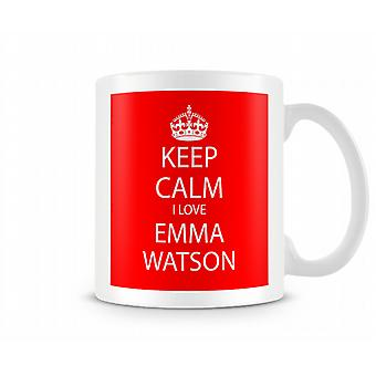 Houd kalm ik liefde Emma Watson afgedrukt mok