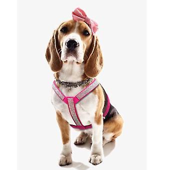 Zachte Suede Sparkly Diamante hond harnas