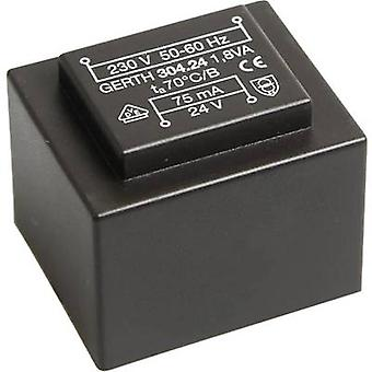 PCB mount transformator 1 x 230 V 1 x 18 V AC 1.80 VA 100 mA PT301801 Gerth