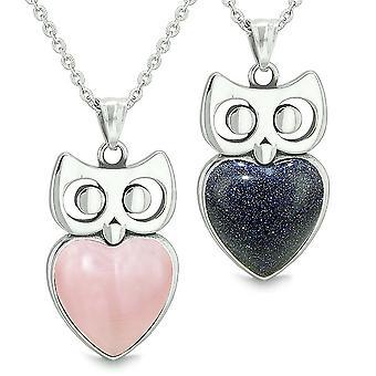 Amulettes hibou mignon coeurs amour Couples ou meilleures amies définie réflectorisé rose Colliers de Goldstone bleu
