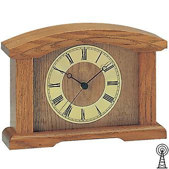 AMS 5138/4 clock mantel clock radio wood oak solid with glass table clock