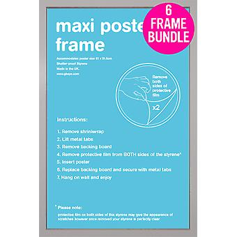 GB julisteita 6 Silver Maxi juliste kehyksiä 61x91.5cm nippu