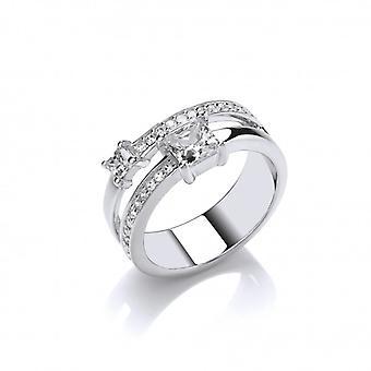 Cavendish francia ezüst és CZ Princess Ring