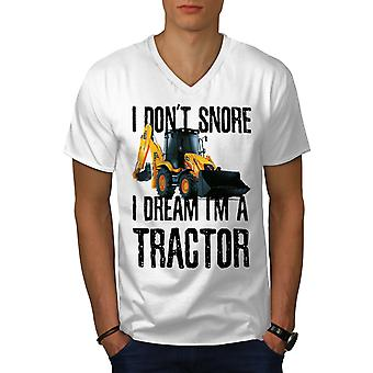I Don ' t Snore Tractor Men WhiteV-Neck T-Shirt | Wellcoda