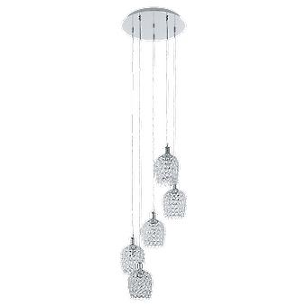 Eglo Bonares 5 Light Pendant In Chrome With Crystal Glass Shades