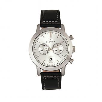 Elevon Langley Chronograph Leather-Band Watch w/ Date - Silver/Black