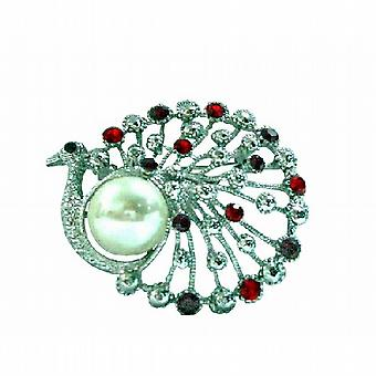 Cristaux Siam Red Peacock ronde avec perles Broche