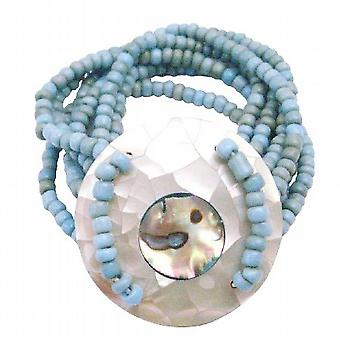 Classy Turquiose Beads Stretchable Bracelet Round Shell On the Wrist