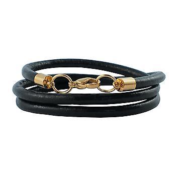 Lederkette 6 mm Herren Halskette schwarz 17-100 cm lang mit Karabiner Verschluss Gold Rund