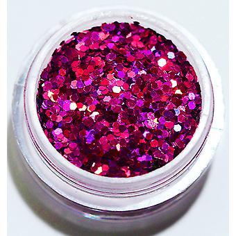 1x Sechseck Glitter Cerise