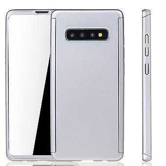 Samsung Galaxy S10 Plus Handy Hülle Schutz-Case Full-Cover Panzer Schutz Folie Silber