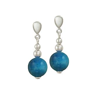 Eternal Collection Essentia Turquoise Malaysian Jade Silver Tone Drop Clip On Earrings