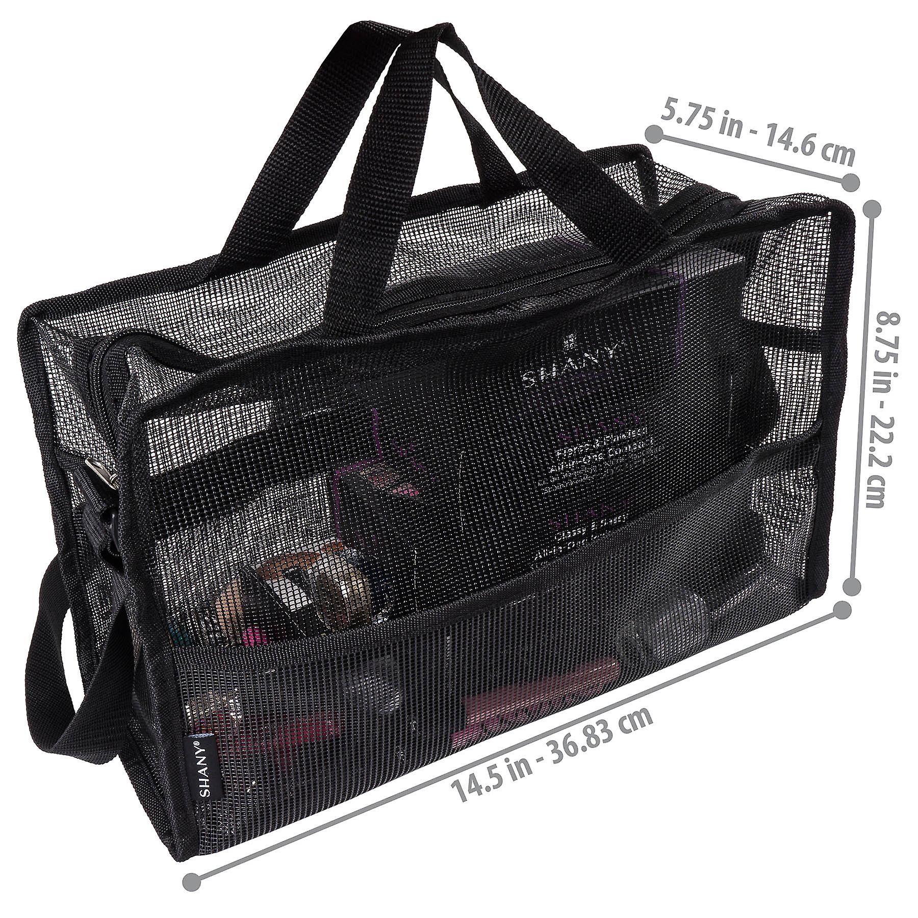 SAC en maille pliable SHANY - Grand fourre-tout see-Thru Travel avec bretelles d'épaule - Résistant à l'eau avec poches zippées - Noir