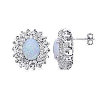 Jewelco London Ladies Rhodium Plated Sterling Silver White Oval Opal Royal Cluster Stud Earrings