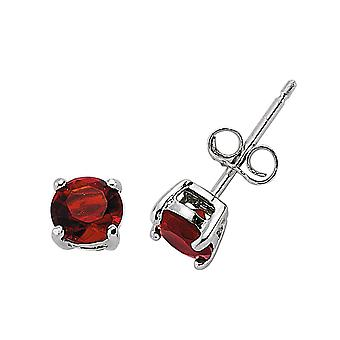 Jewelco London Rhodium Plated Silver Red Round Brilliant Cubic Zirconia Double Gallery Solitaire Stud Earrings 5mm